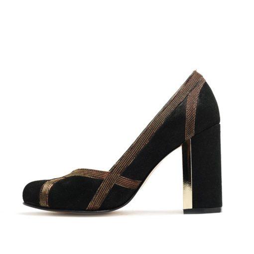 Zapatos fiesta negro oro RALLYS