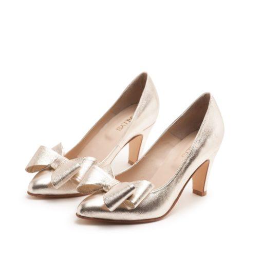 Stilettos bajos dorados RALLYS