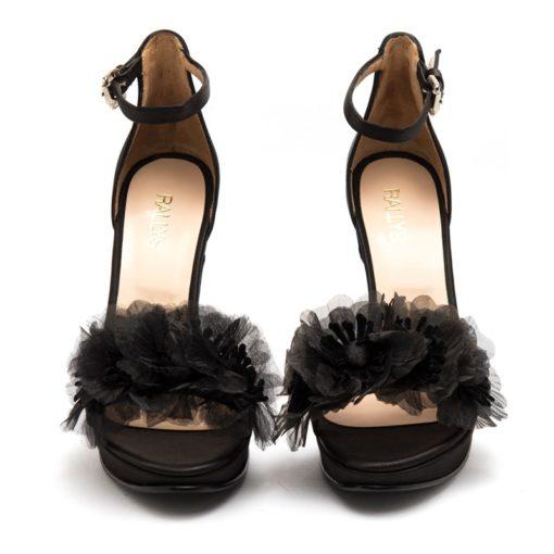 Sandalias altas negras raso RALLYS