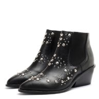 Botas de cuero negro con taco medio RALLYS
