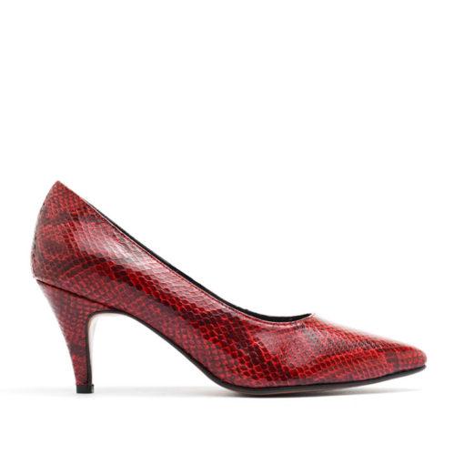 Stilettos taco medio color rojo RALLYS