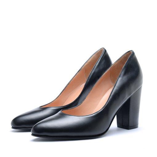 Zapatos de cuero negro con taco alto mujer RALLYS