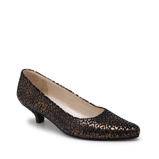 Stilettos bajos negro y cobre RALLYS