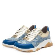Trainers en cuero color azul y platino RALLYS