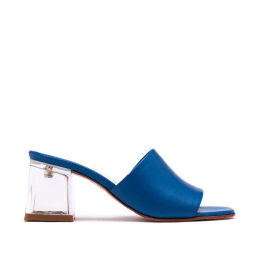 Zuecos mujer azul cuero RALLYS