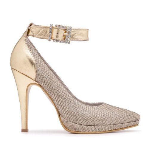 Zapatos fiesta color oro con strass RALLYS