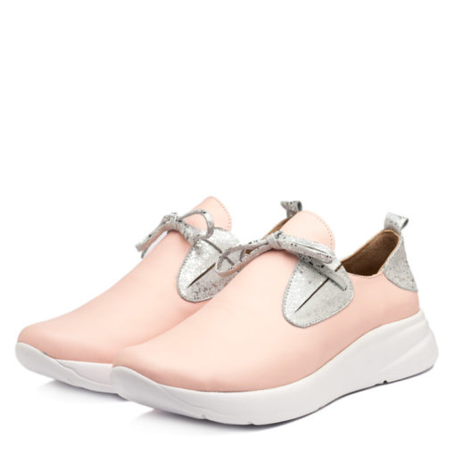 Zapatillas de cuero color rosa y plata para Mujer RALLYS