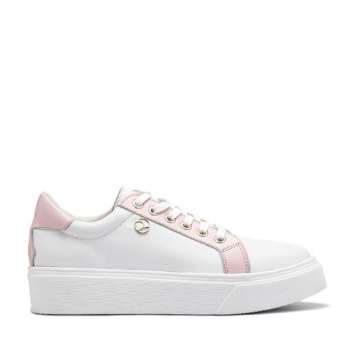 Zapatillas de cuero blanco con rosa RALLYS