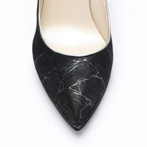 Stilettos en cuero plata y negro RALLYS