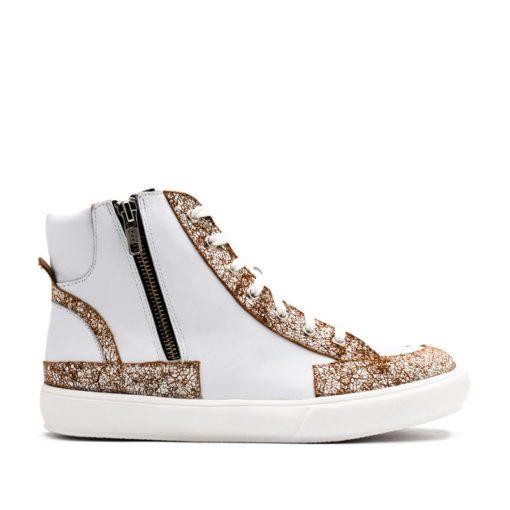 Zapatillas para Mujer en cuero blanco tipo botita