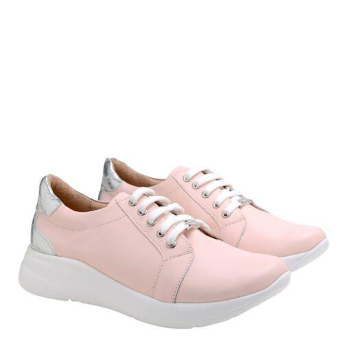 Zapatillas en cuero color rosa