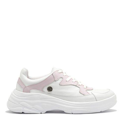 Zapatillas de cuero blanco y rosa RALLYS