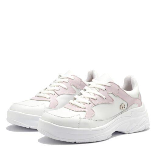 Zapatillas blancas detalles rosas RALLYS