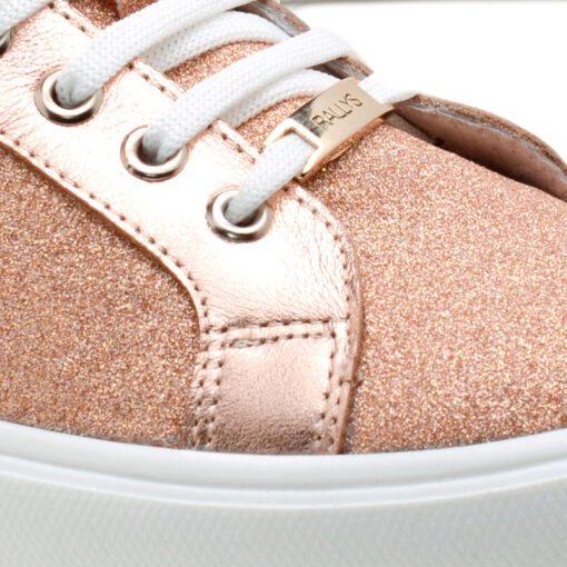 Zapatillas en cuero nude con glitter para Mujer