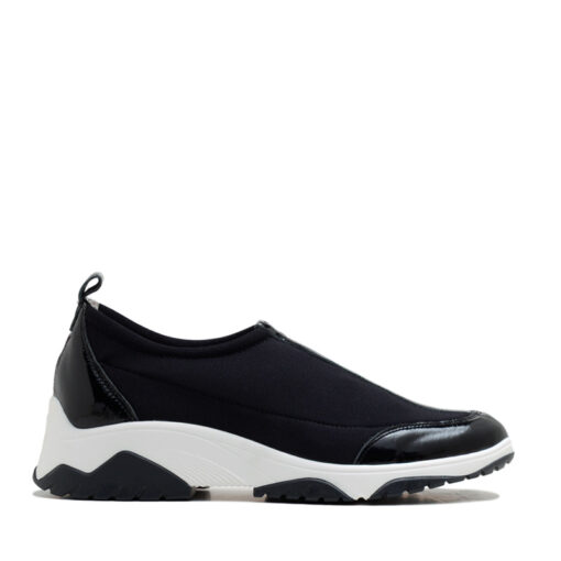 Zapatillas elastizadas negras con charol para Mujer