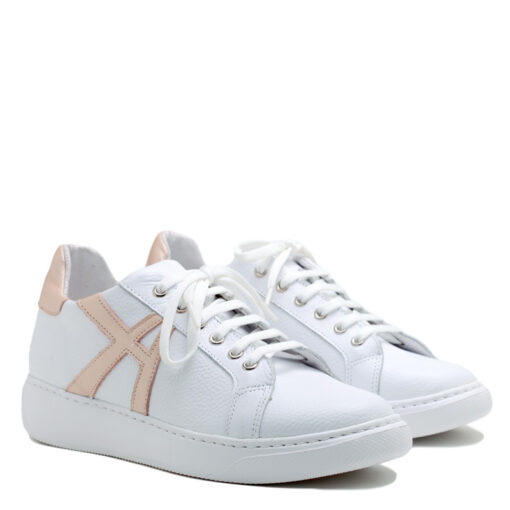 Zapatillas blancas para Mujer con vivos color rosa