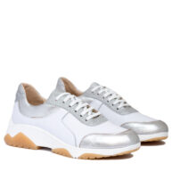 Zapatillas color blanco plateado cuero RALLYS