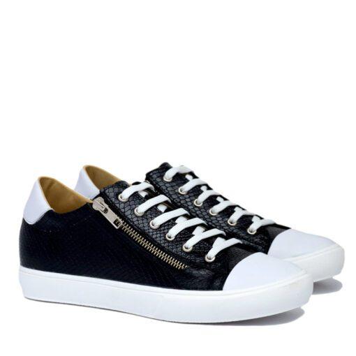 Zapatillas negras y blancas de cuero RALLYS