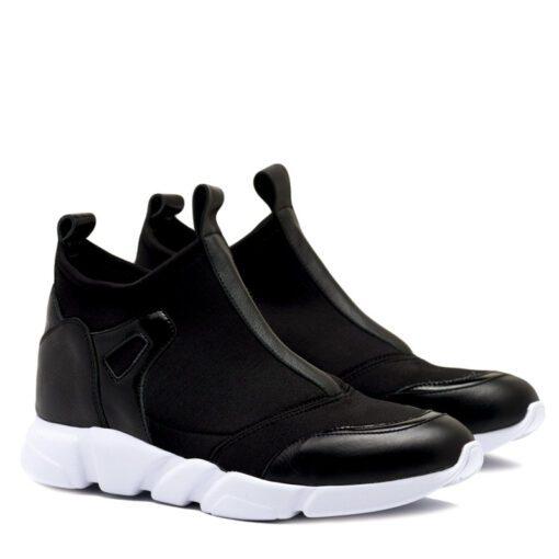 Zapatillas negras elastizadas con detalles en cuero para Mujer RALLYS