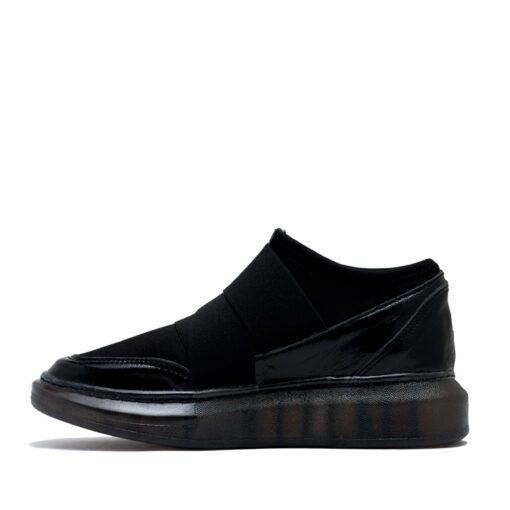 Zapatillas en tela elastizada color negro RALLYSy velcro