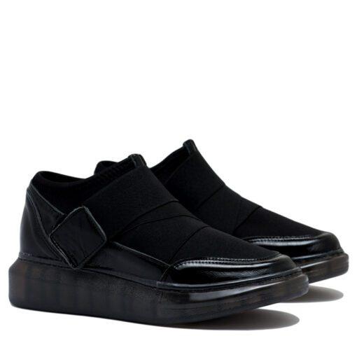 Zapatillas de mujer color negro en tela elastizada y charol RALLYS