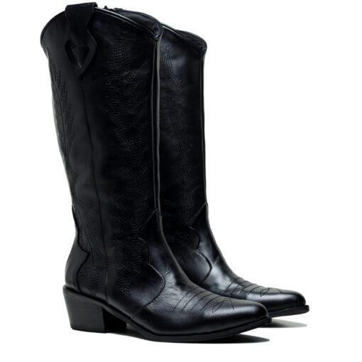 Botas texanas mujer cuero negro RALLYS