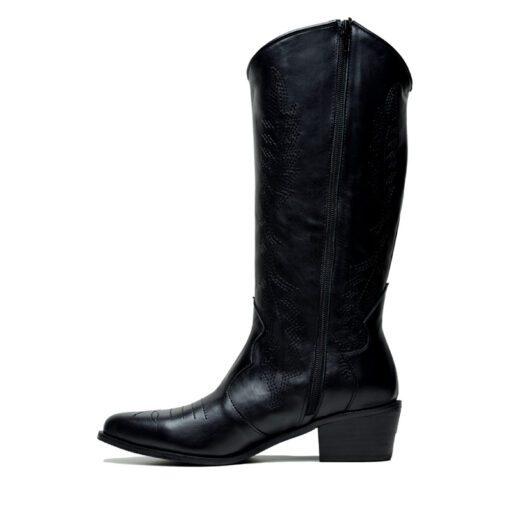 Botas texanas de cuero color negro RALLYS