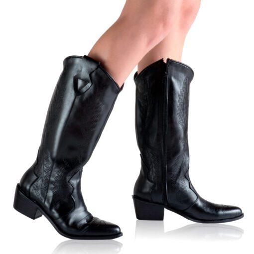 Botas texanas cuero color negro RALLYS