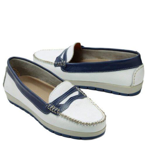 Mocasin blanco y azul livianos RALLYS